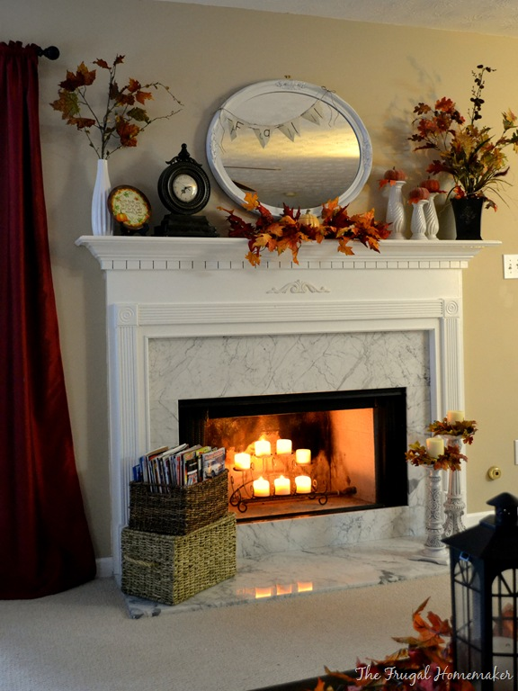 A Mantel Fit For Fall Spray Painted Mirror