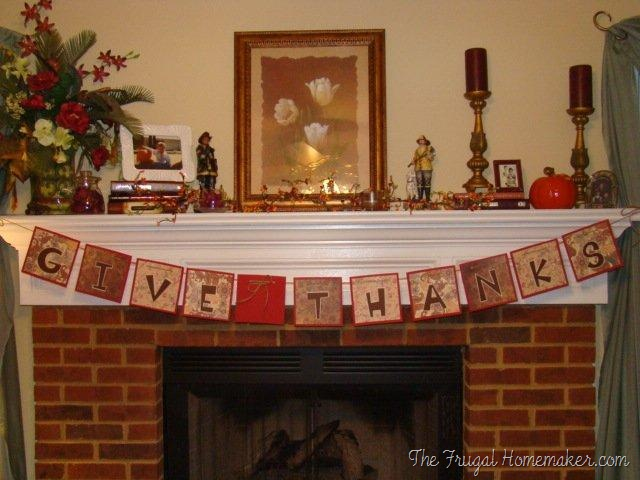 Thanksgiving banner for the fireplace (made for FREE!)