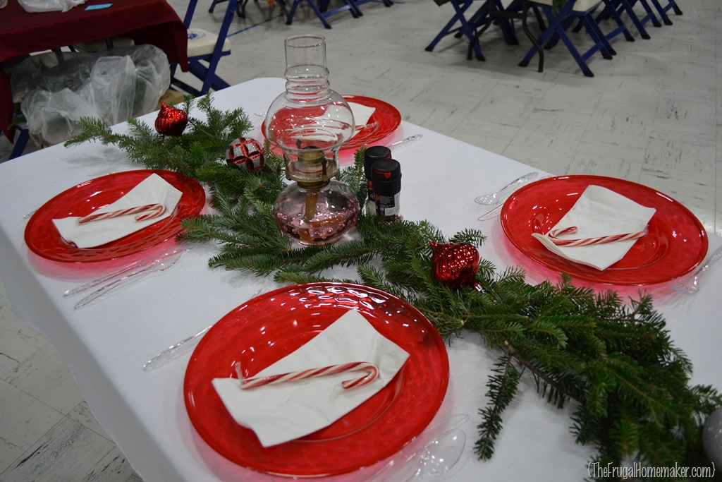 Christmas dinner table ideas from our church s christmas for Christmas decorations for the dinner table