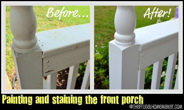 Front porch part 1: new paint and stain {Sprucing up the Outdoors for Spring series}