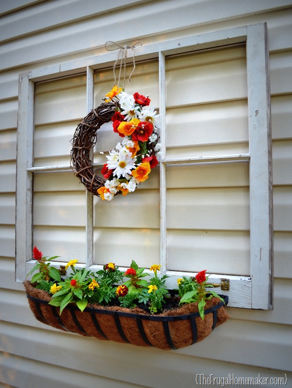 Vintage window turned outdoor decor and flower planter for Outdoor decorating with old windows