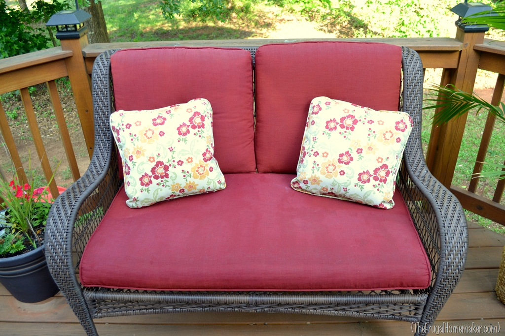Faded Chair Cushions Refreshed With Spray Paint The Frugal Homemaker