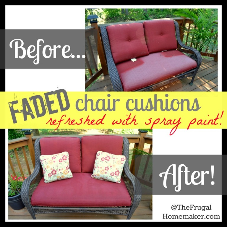 Faded chair cushions refreshed with spray paint!