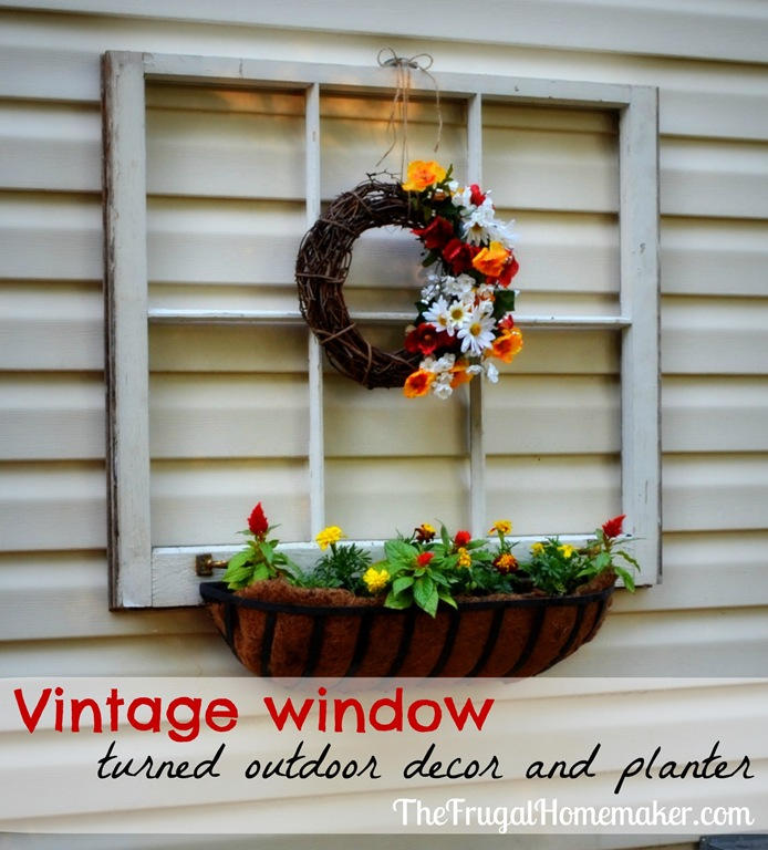 Vintage window turned outdoor decor and flower planter {Sprucing