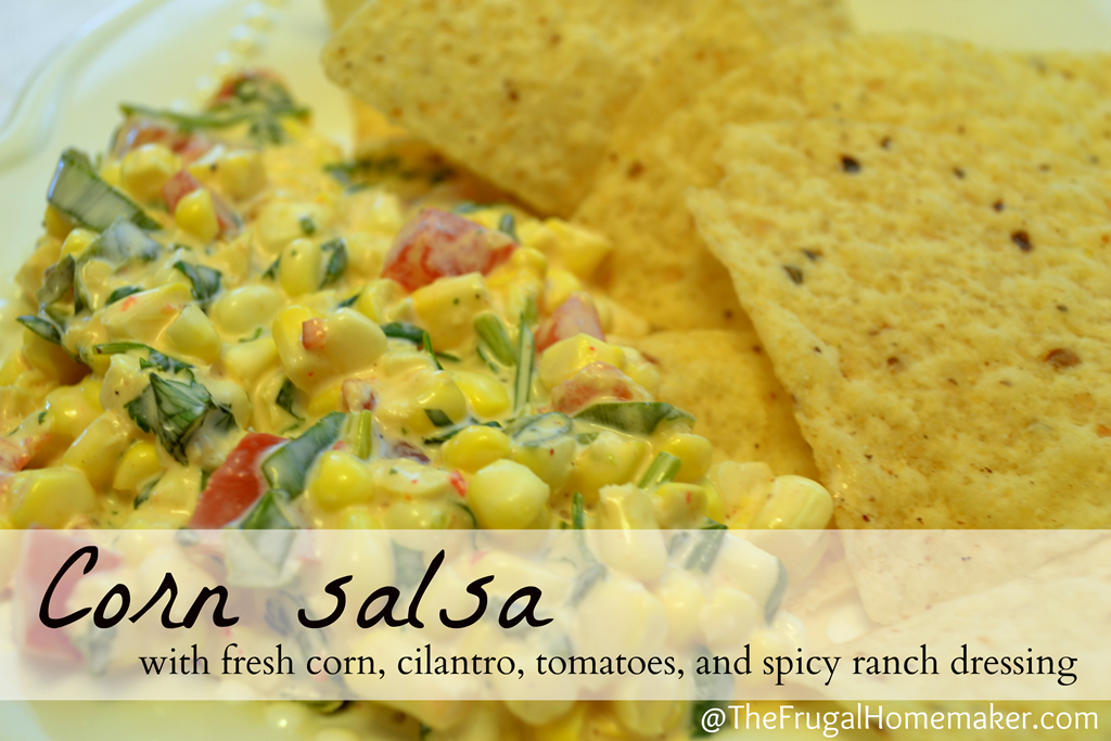 Corn salsa w/ fresh corn, cilantro, and spicy ranch dressing