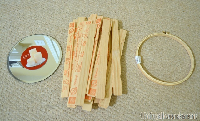supplies for DIY sunburst mirror