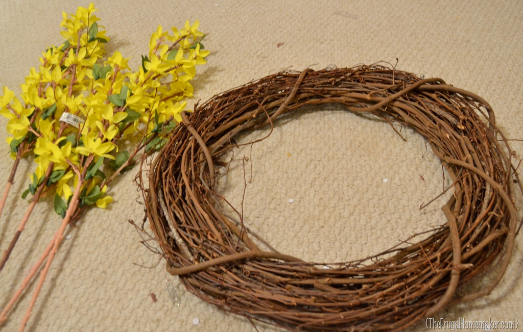 Forsythia wreath yellow - White And Yellow Summer Wreath Made With Yard Sale Finds