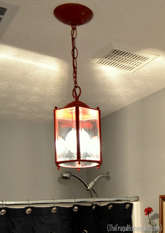 How To Spray Paint A Brass Light Fixture Or The Red Chandelier In My Bathroom Beach Inspired