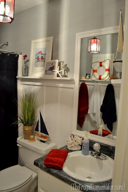 Beach-inspired guest bathroom FINAL reveal! {Or how I redecorated my bathroom two times…}
