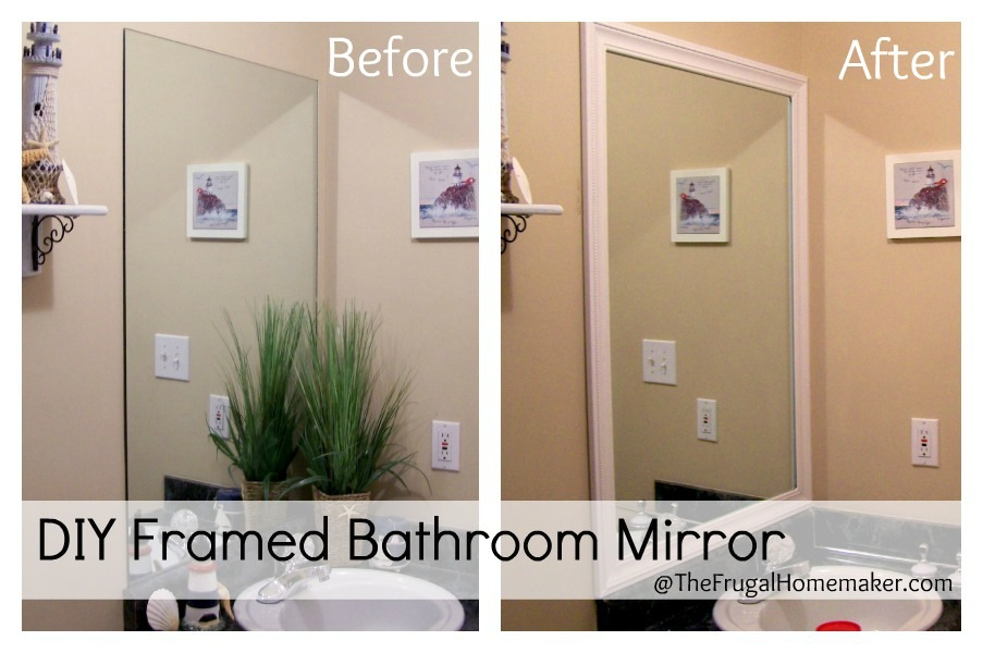 How to frame your bathroom mirrors beach inspired bathroom makeover part 1 for How to frame mirror in bathroom