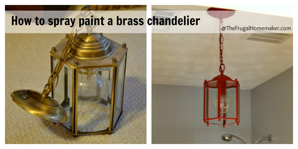 How To Spray Paint A Brass Light Fixture Or The Red Chandelier In My Bathroom Beach Inspired Makeover Part 3