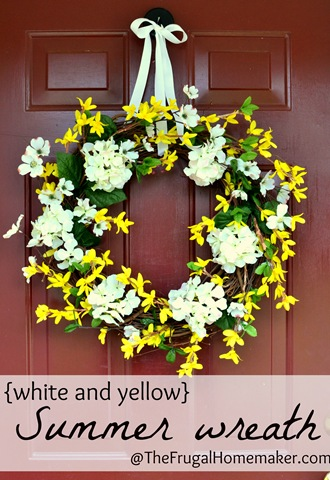 White and yellow summer wreath
