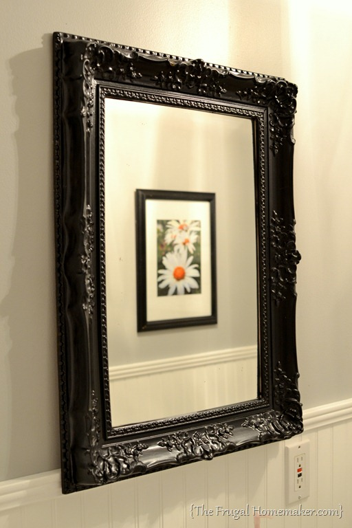 Spray painted gold yard sale mirror {How to spray paint a mirror frame}