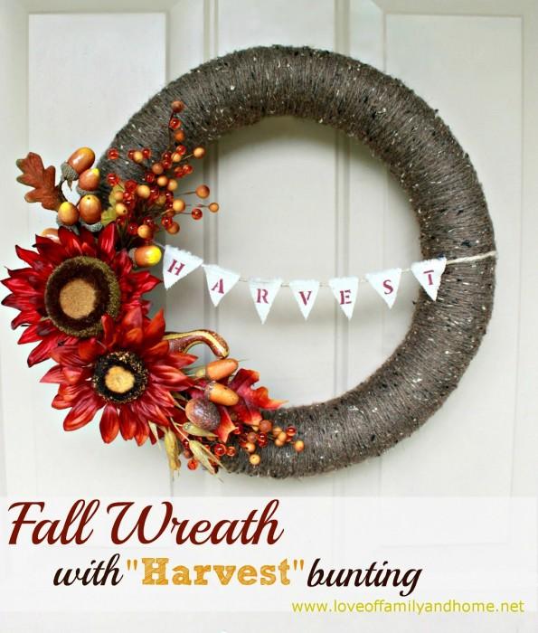 DIY Fall Yarn Wreath With Bunting 033 edited
