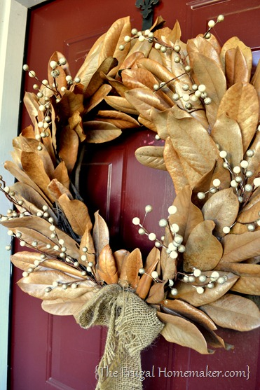 magnolia wreath - 20 things I love about fall
