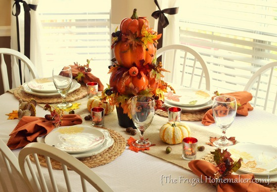 Fall table with Pumpkin topiary