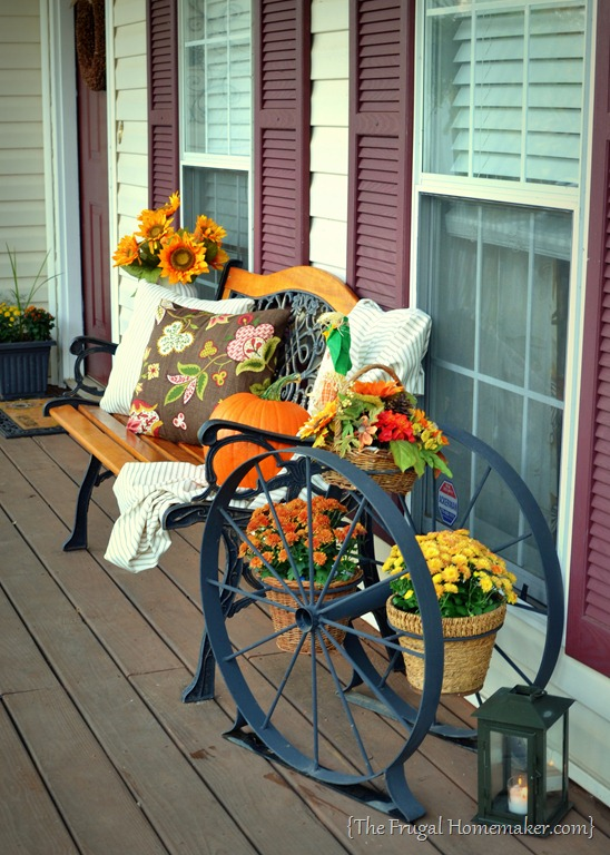 There s a pumpkin on my porch front porch decorated for fall How to decorate your front porch for fall