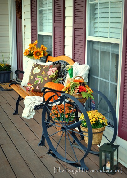 Front porch decorated for Fall