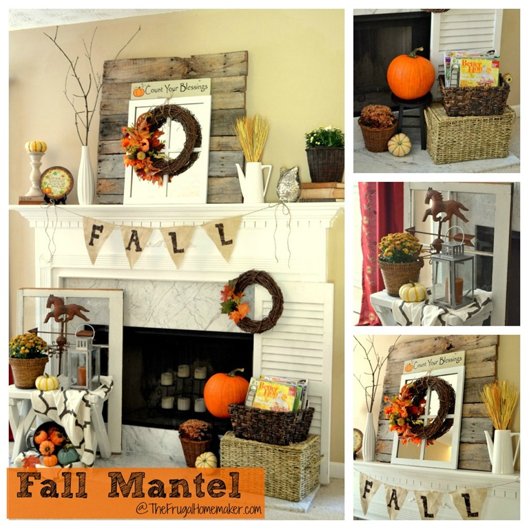 Fall mantel {decorated with reclaimed pallet wood}