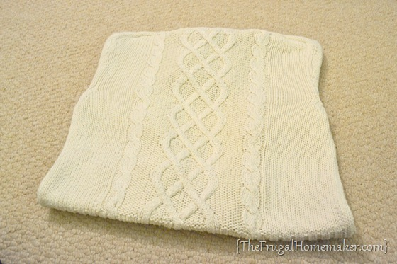 DIY Upcycled Sweater pillow tutorial