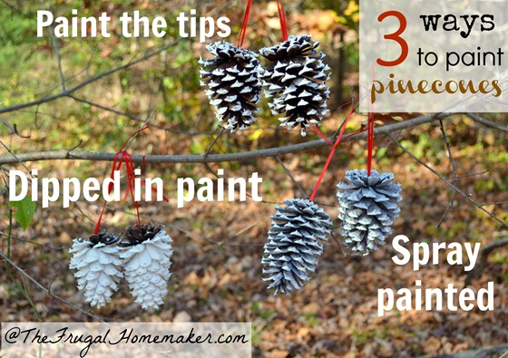 3 ways to paint pinecones