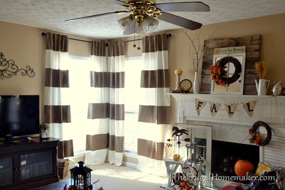 living room after - DIY painted striped curtains