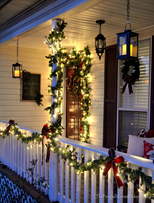 Our Christmas Front Porch With Hanging Candle Lanterns