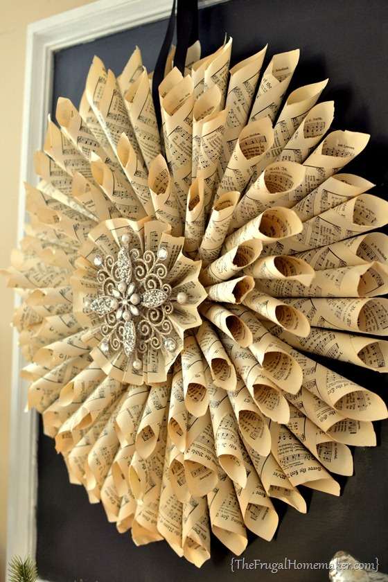 Homemade vintage music book page wreath for Antique books for decoration