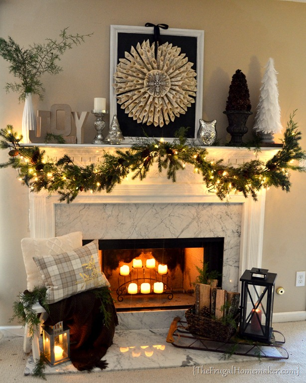 Neutral vintage christmas mantel Decorative hearth