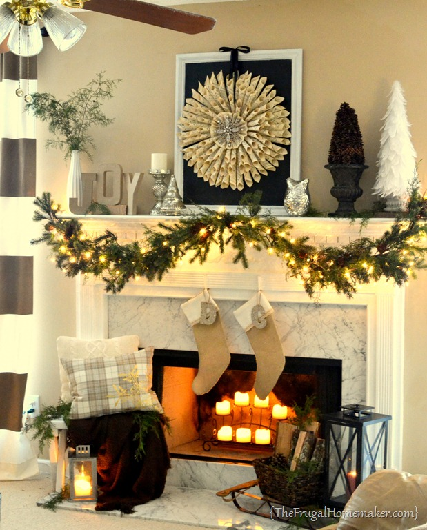 Carolers Displayed On A Mantle With Garland And Stockings: DIY Burlap + Lace Stockings