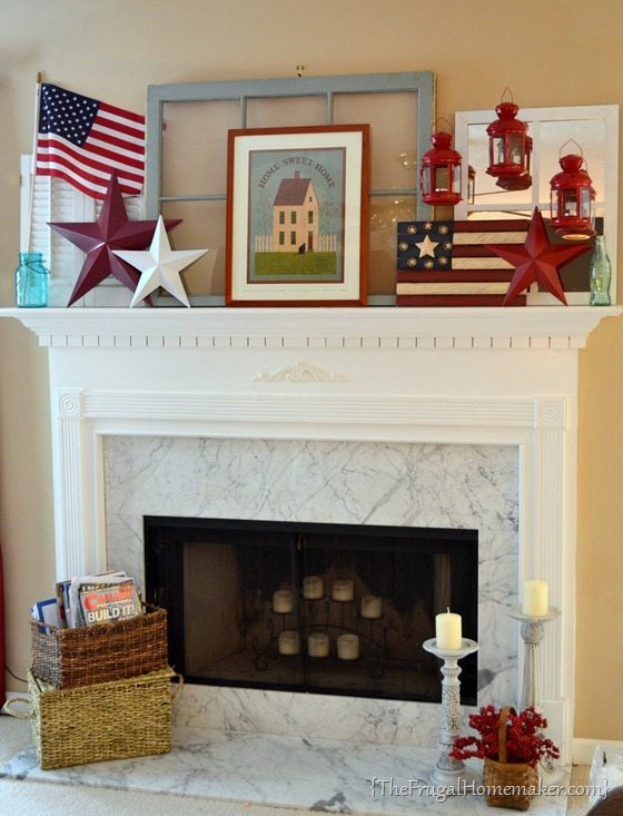 Patriotic summer mantel