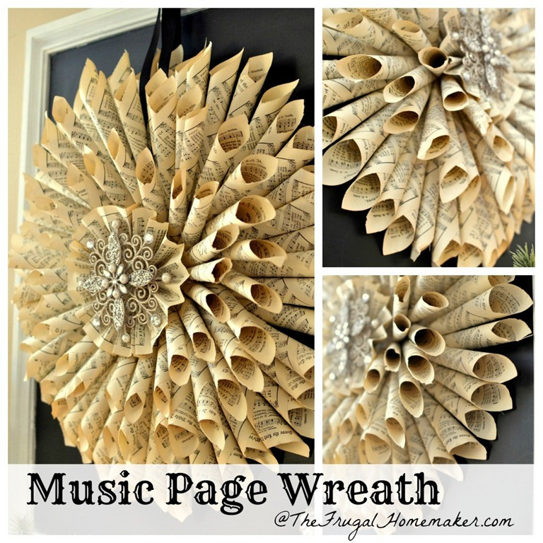 Homemade Vintage Music Book Page Wreath