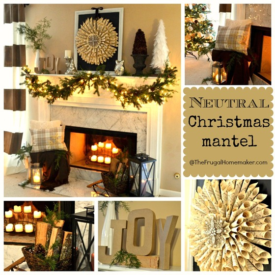 Neutral + Vintage Christmas mantel