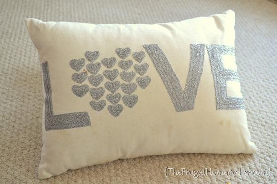 LOVE yard sale pillow