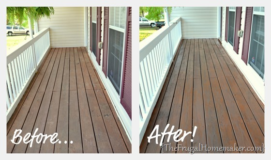 Before/After stained front porch