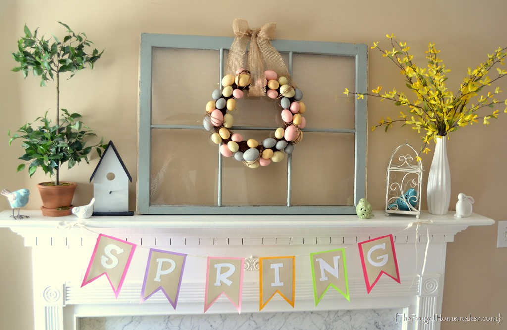 Yellow and blue SpringEaster mantel – Easter Mantel Decorations