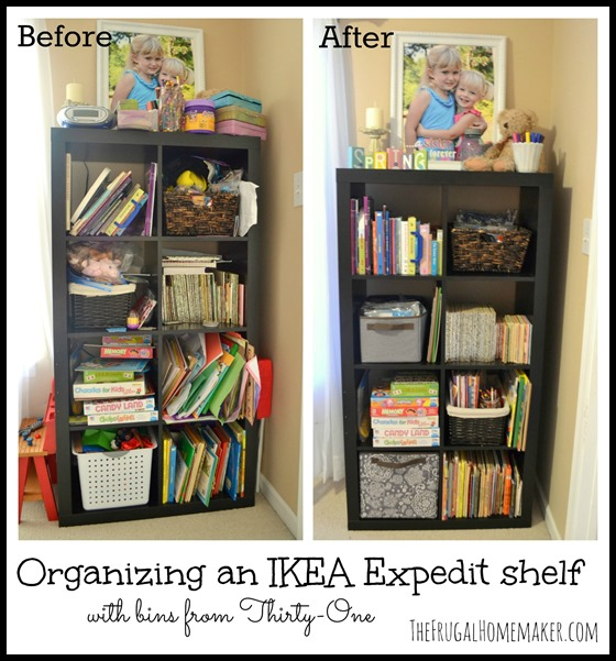 Organizing an Ikea Expedit shelf with Thirty-One products