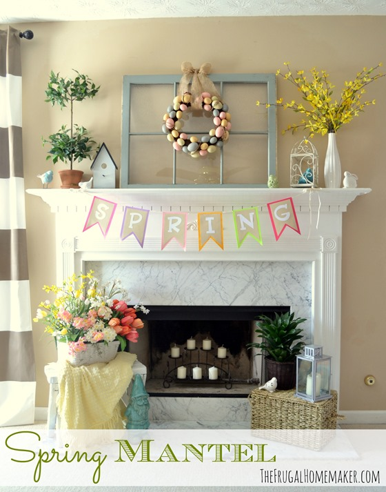 Yellow and blue Spring/Easter mantel