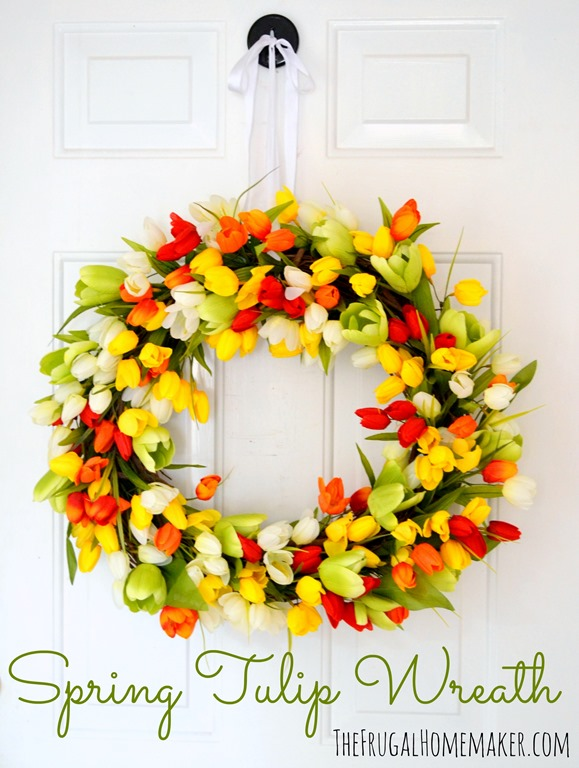 Spring tulip wreath make your own wreath tutorial for How to make door wreaths for spring