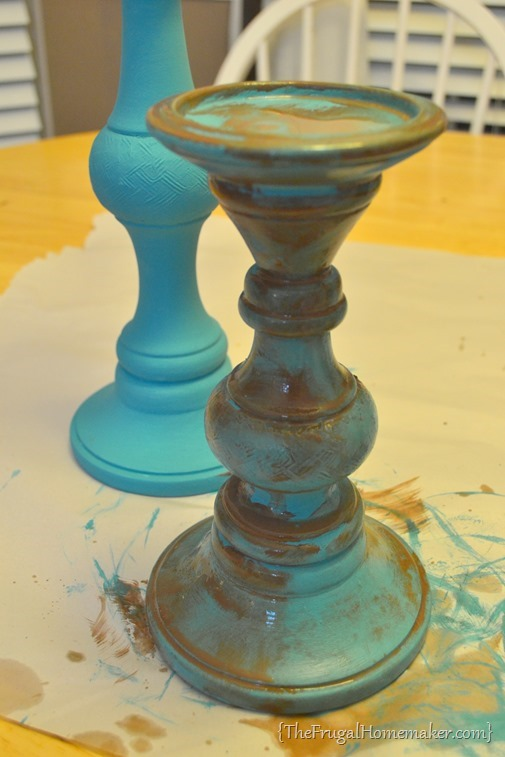 antiqued candlesticks with paint