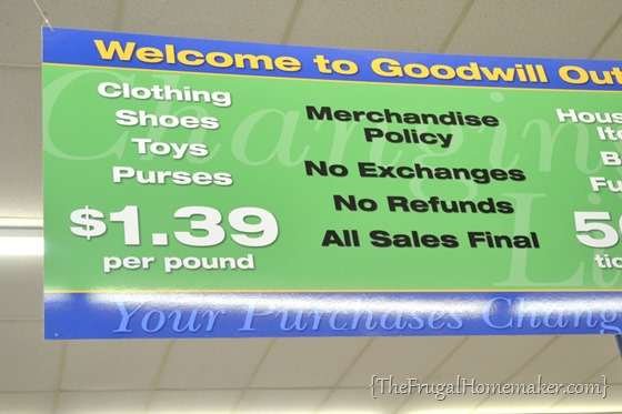 Shopping at a Goodwill outlet (pay by the pound for clothes)