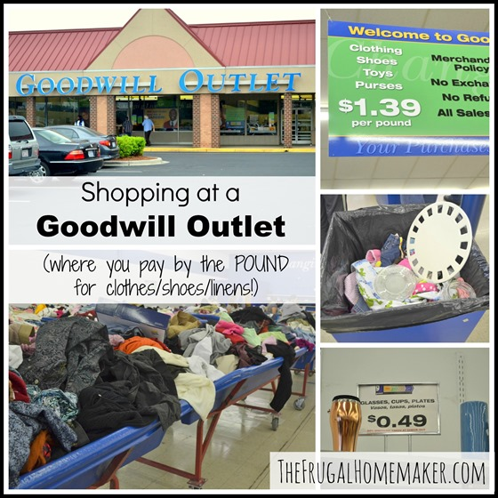 Shopping at a Goodwill Outlet center (pay by the POUND for clothes!)