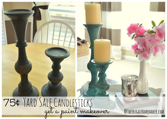 75¢ Yard sale candlesticks get a paint makeover