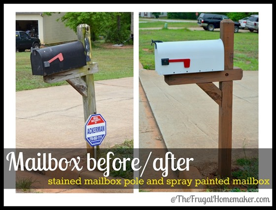 Painted mailbox before and after