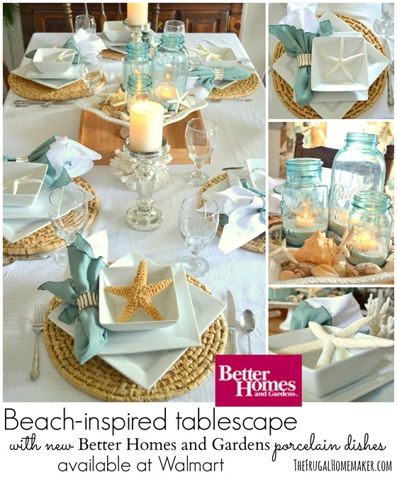 Beach-inspired tablescape with new Better Homes and Gardens porcelain dishes