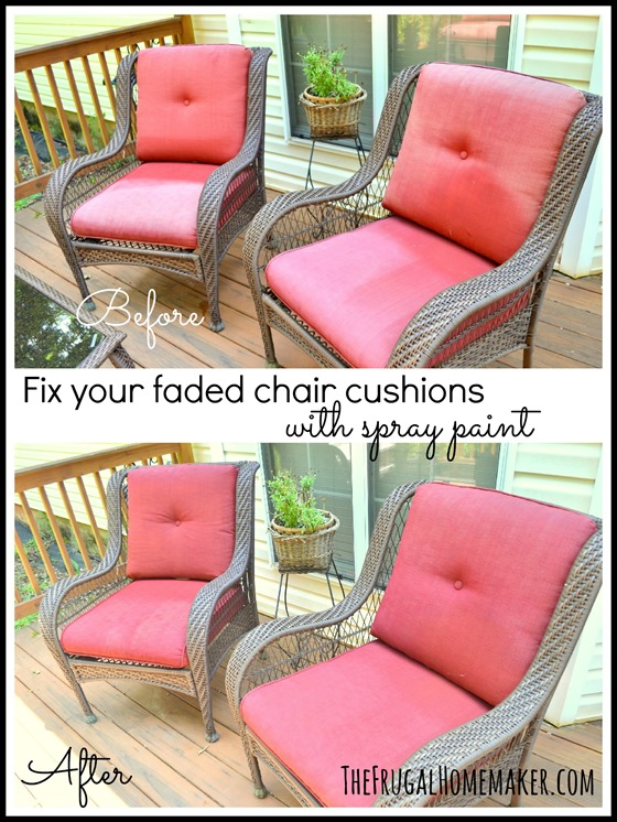 Faded chair cushions refreshed with spray paint (chairs)