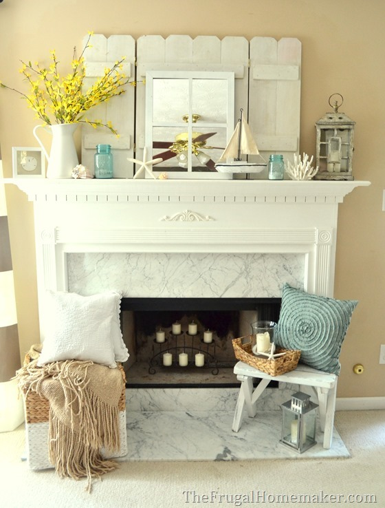 Cottage or Coastal themed mantel