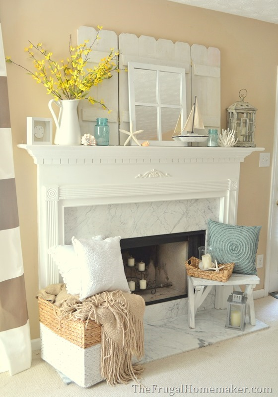 cottage or coastal themed decorated mantel 1 mantel. Black Bedroom Furniture Sets. Home Design Ideas