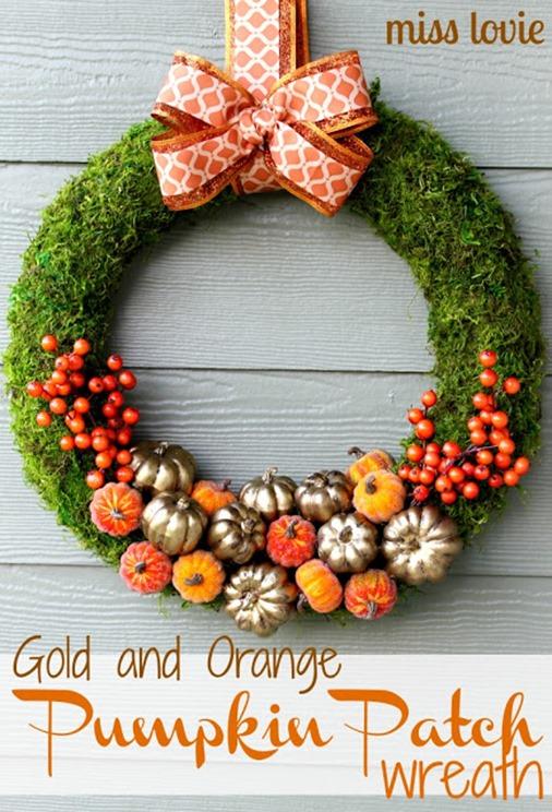 GoldandOrangePumpkinPatchFallWreathcover