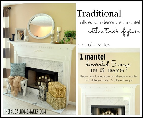 Traditional all season mantel with a touch of glam
